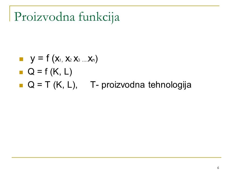 6 Proizvodna funkcija y = f (x 1, x 2 x 3.... x n ) Q = f (K, L) Q = T (K, L), T- proizvodna tehnologija