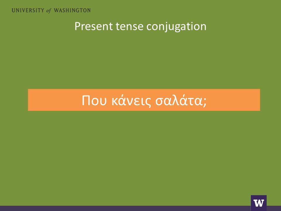 Present tense conjugation Που κάνεις σαλάτα;