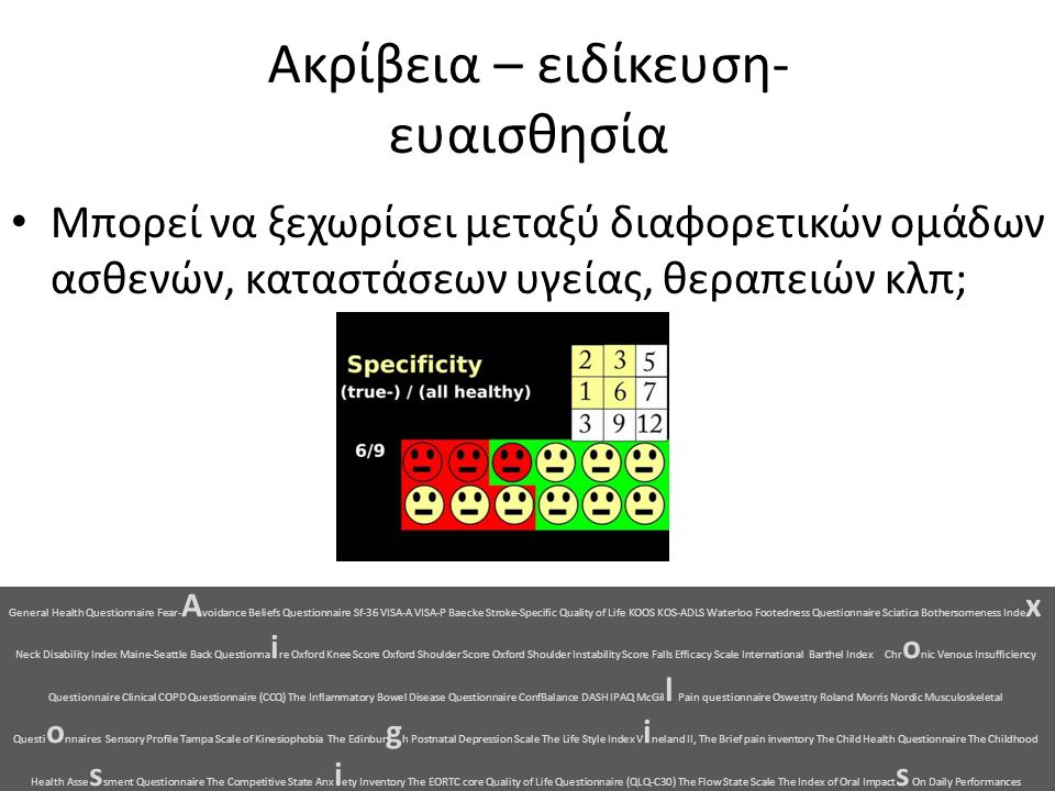 Ακρίβεια – ειδίκευση- ευαισθησία Μπορεί να ξεχωρίσει μεταξύ διαφορετικών ομάδων ασθενών, καταστάσεων υγείας, θεραπειών κλπ; General Health Questionnaire Fear- A voidance Beliefs Questionnaire Sf-36 VISA-A VISA-P Baecke Stroke-Specific Quality of Life KOOS KOS-ADLS Waterloo Footedness Questionnaire Sciatica Bothersomeness Inde x Neck Disability Index Maine-Seattle Back Questionna i re Oxford Knee Score Oxford Shoulder Score Oxford Shoulder Instability Score Falls Efficacy Scale International Barthel Index Chr o nic Venous Insufficiency Questionnaire Clinical COPD Questionnaire (CCQ) The Inflammatory Bowel Disease Questionnaire ConfBalance DASH IPAQ McGil l Pain questionnaire Oswestry Roland Morris Nordic Musculoskeletal Questi o nnaires Sensory Profile Tampa Scale of Kinesiophobia The Edinbur g h Postnatal Depression Scale The Life Style Index V i neland II, The Brief pain inventory The Child Health Questionnaire The Childhood Health Asse s sment Questionnaire The Competitive State Anx i ety Inventory The EORTC core Quality of Life Questionnaire (QLQ-C30) The Flow State Scale The Index of Oral Impact s On Daily Performances