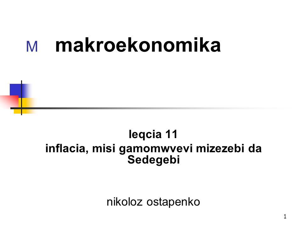 1 M makroekonomika leqcia 11 inflacia, misi gamomwvevi mizezebi da Sedegebi nikoloz ostapenko