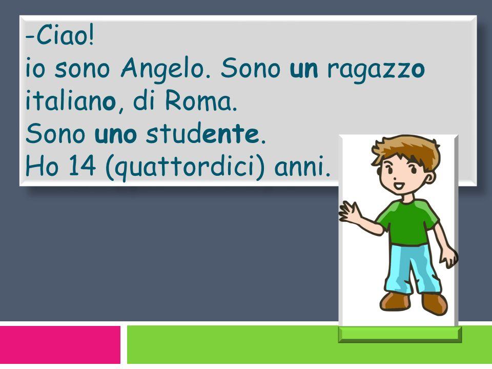 -Ciao! io sono Angelo. Sono un ragazzo italiano, di Roma. Sono uno studente. Ho 14 (quattordici) anni. -Ciao! io sono Angelo. Sono un ragazzo italiano