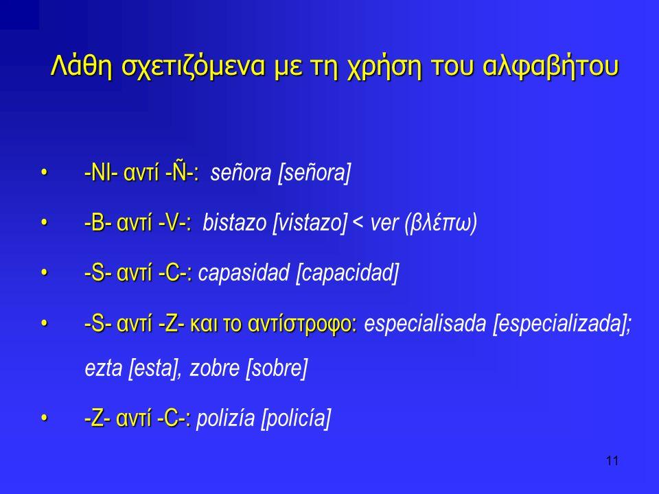 11 Λάθη σχετιζόμενα με τη χρήση του αλφαβήτου -NI- αντί -Ñ-:-NI- αντί -Ñ-: señora [señora] -B- αντί -V-:-B- αντί -V-: bistazo [vistazo] < ver (βλέπω)