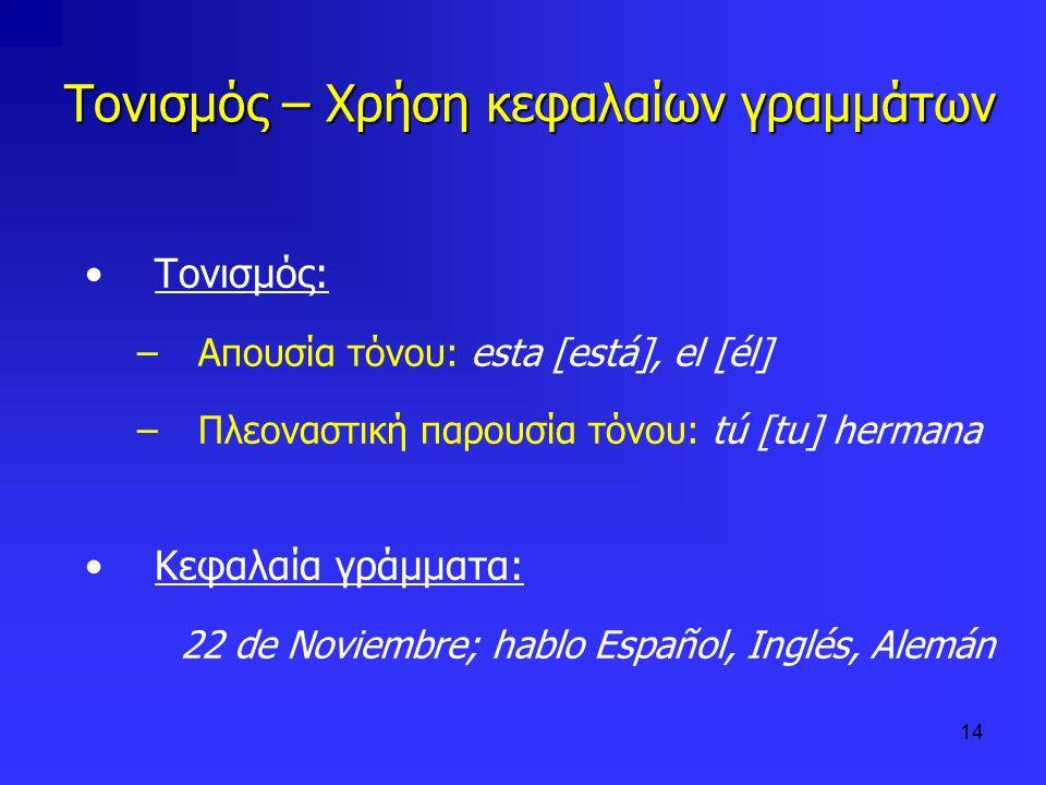 14 Τονισμός – Χρήση κεφαλαίων γραμμάτων Τονισμός: –Απουσία τόνου: esta [está], el [él] –Πλεοναστική παρουσία τόνου: tú [tu] hermana Κεφαλαία γράμματα: