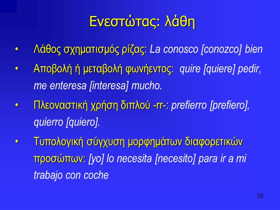 33 Ενεστώτας: λάθη Λάθος σχηματισμός ρίζας:Λάθος σχηματισμός ρίζας: La conosco [conozco] bien Αποβολή ή μεταβολή φωνήεντος:Αποβολή ή μεταβολή φωνήεντο