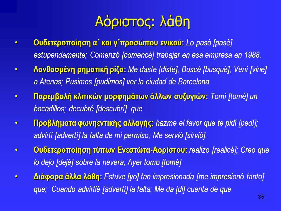 35 Αόριστος: λάθη Ουδετεροποίηση α΄ και γ΄προσώπου ενικού: Ουδετεροποίηση α΄ και γ΄προσώπου ενικού: Lo pasó [pasé] estupendamente; Comenzó [comencé] t