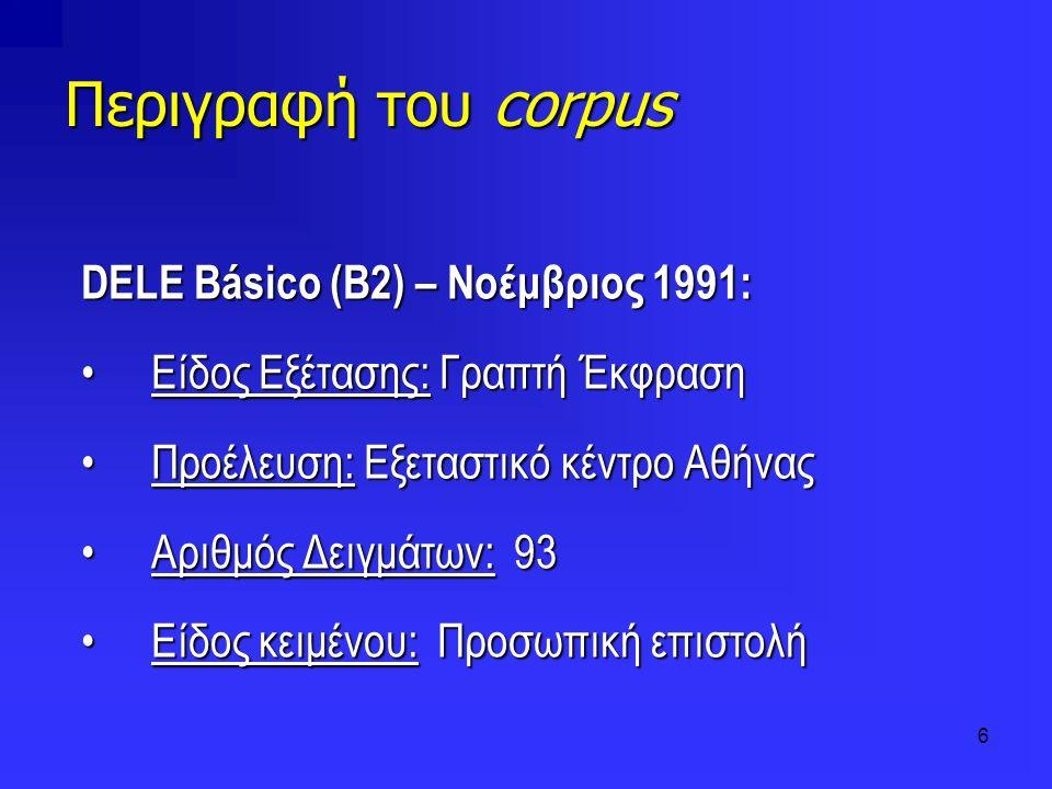 6 Περιγραφή του corpus DELE Básico (Β2) – Νοέμβριος 1991: Είδος Εξέτασης: Γραπτή ΈκφρασηΕίδος Εξέτασης: Γραπτή Έκφραση Προέλευση: Εξεταστικό κέντρο Αθ