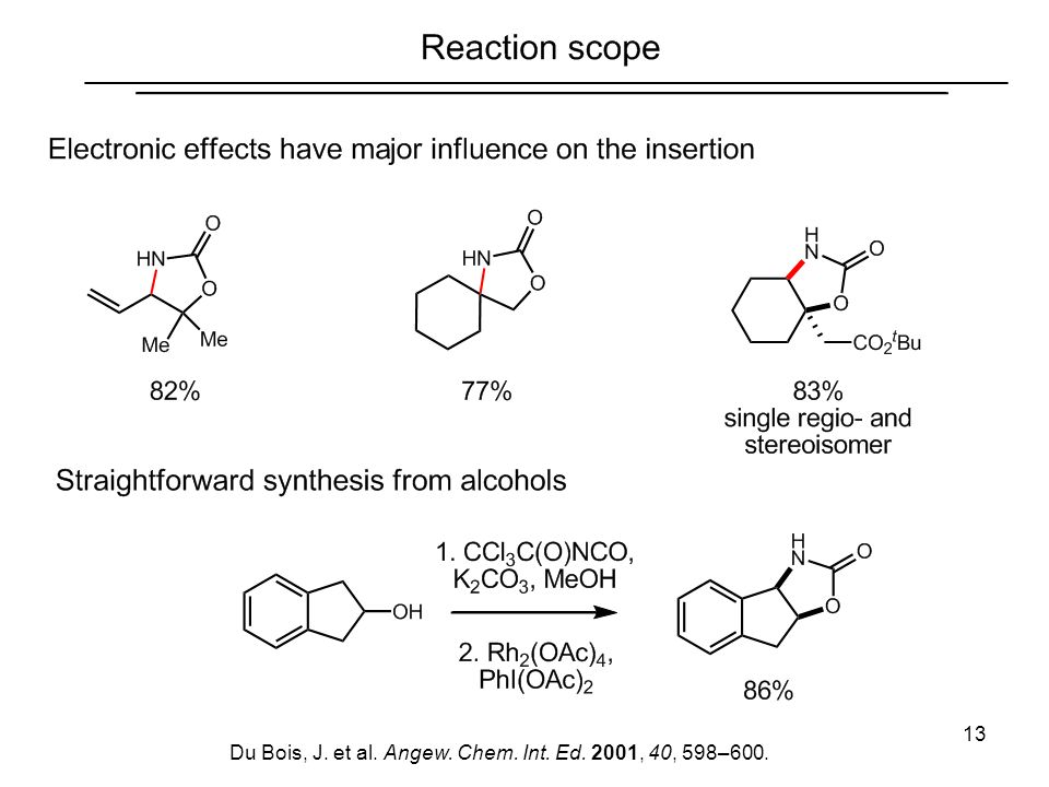 13 Du Bois, J. et al. Angew. Chem. Int. Ed. 2001, 40, 598–600.