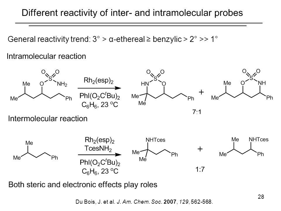 28 General reactivity trend: 3° > α-ethereal benzylic > 2° >> 1° Du Bois, J. et al. J. Am. Chem. Soc. 2007, 129, 562-568.