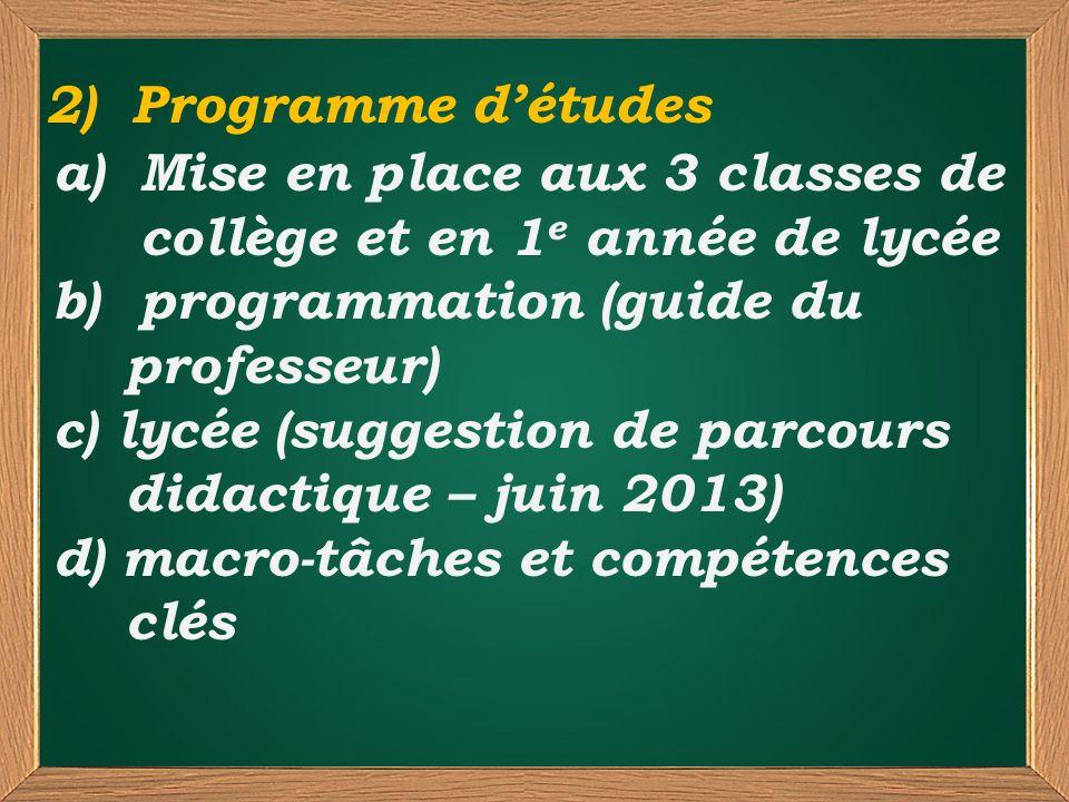 a)Mise en place aux 3 classes de collège et en 1 e année de lycée b)programmation (guide du professeur) c) lycée (suggestion de parcours didactique –