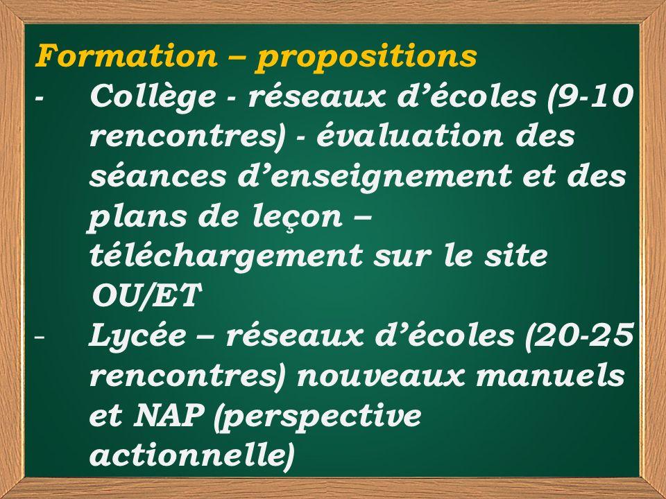Formation – propositions - Collège - réseaux décoles (9-10 rencontres) - évaluation des séances denseignement et des plans de leçon – téléchargement s