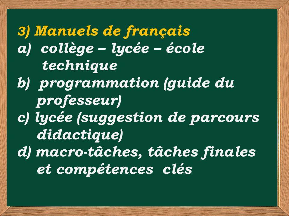 3 ) Manuels de français a) collège – lycée – école technique b) programmation (guide du professeur) c) lycée (suggestion de parcours didactique) d) macro-tâches, tâches finales et compétences clés