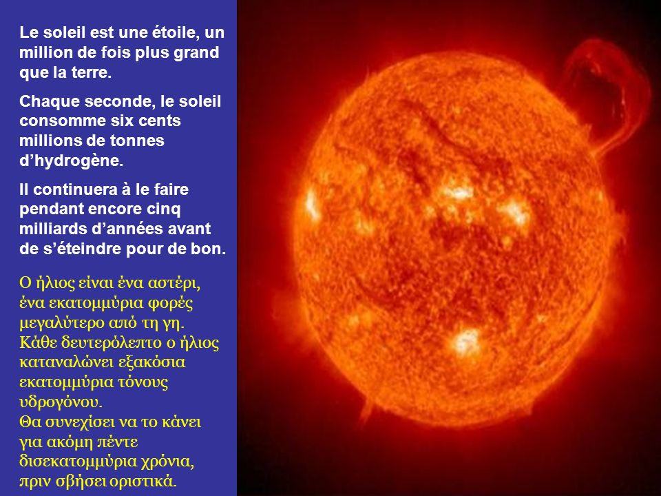Le soleil est une étoile, un million de fois plus grand que la terre.