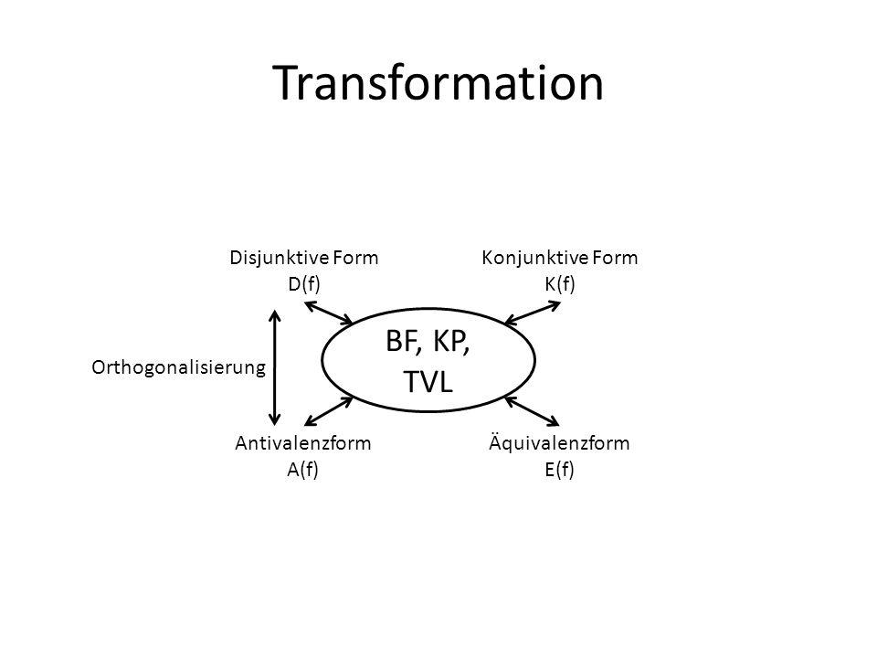 Transformation BF, KP, TVL Disjunktive Form D(f) Konjunktive Form K(f) Äquivalenzform E(f) Antivalenzform A(f) Orthogonalisierung
