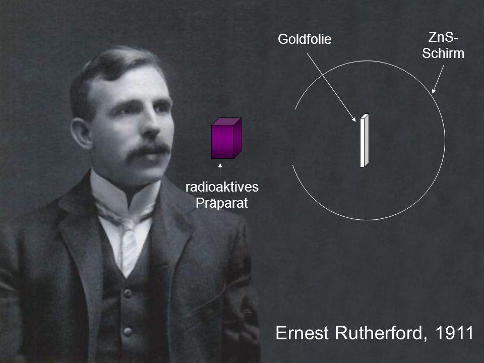 radioaktives Präparat ZnS- Schirm Goldfolie