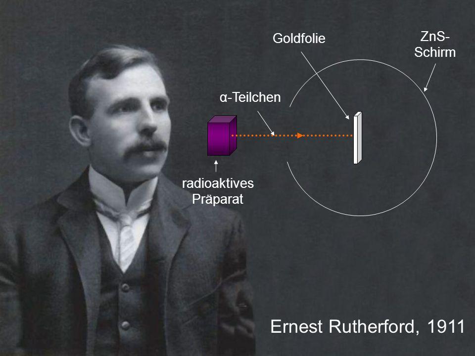 Ernest Rutherford, 1911 radioaktives Präparat ZnS- Schirm α-Teilchen Goldfolie