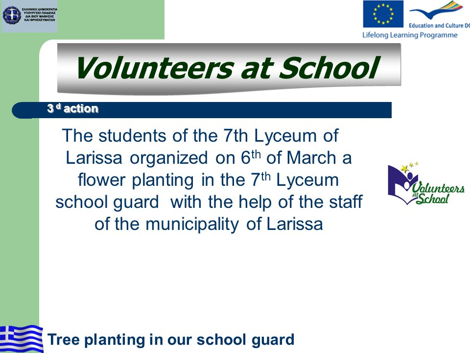 The students of the 7th Lyceum of Larissa organized on 6 th of March a flower planting in the 7 th Lyceum school guard with the help of the staff of t