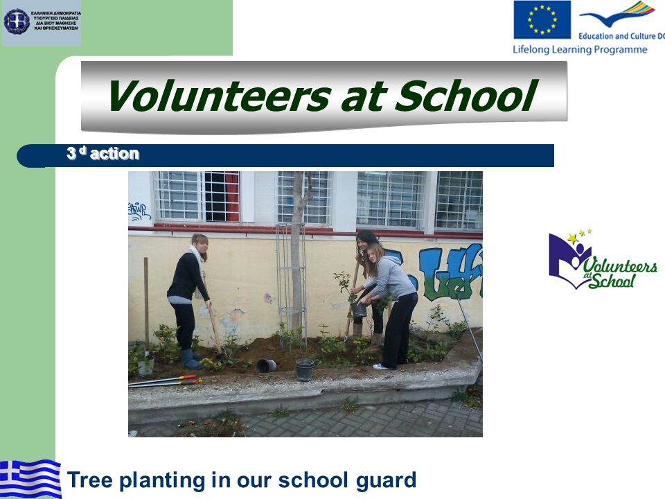 3 d action Volunteers at School 3 d action Tree planting in our school guard