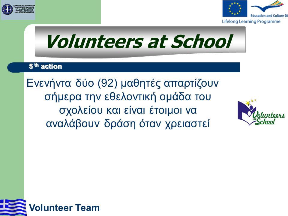 Ενενήντα δύο (92) μαθητές απαρτίζουν σήμερα την εθελοντική ομάδα του σχολείου και είναι έτοιμοι να αναλάβουν δράση όταν χρειαστεί Volunteers at School 5 th action Volunteer Team