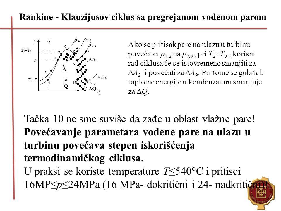 Rankine - Klauzijusov ciklus sa pregrejanom vodenom parom Sl. 2.15. Uticaj pritiska pare na ulazu u turbinu na stepen iskori{}ewa ciklusa A 1 3 2 T s