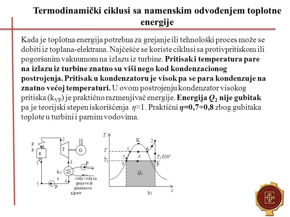 Termodinamički ciklusi sa namenskim odvođenjem toplotne energije Kada je toplotna energija potrebna za grejanje ili tehnološki proces može se dobiti i