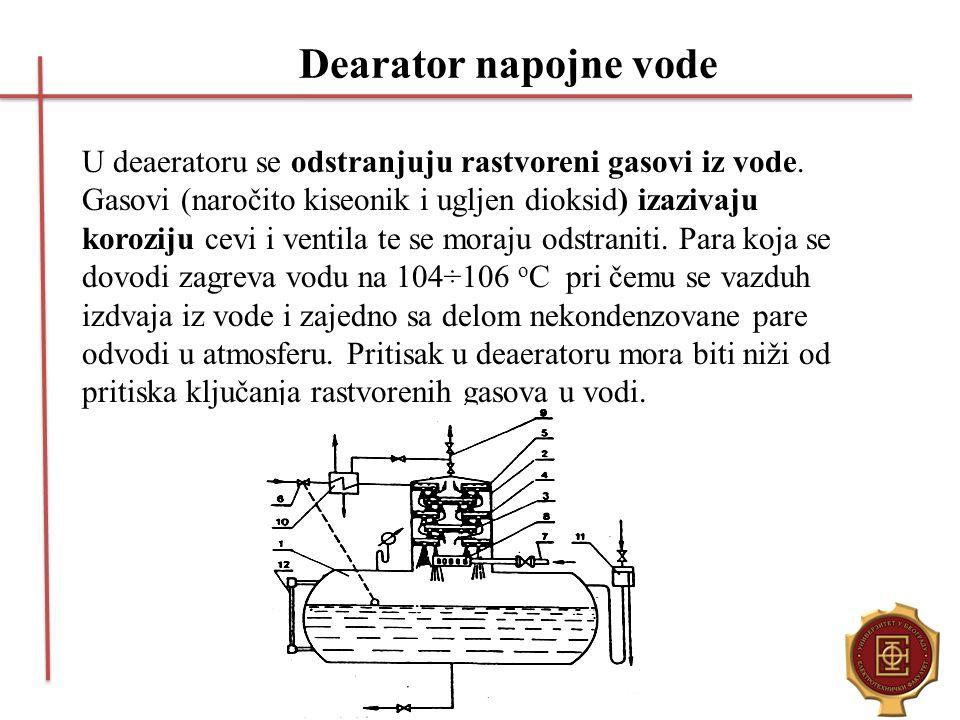 Dearator napojne vode U deaeratoru se odstranjuju rastvoreni gasovi iz vode. Gasovi (naročito kiseonik i ugljen dioksid) izazivaju koroziju cevi i ven