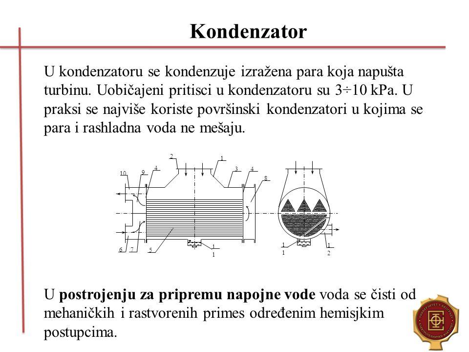 Kondenzator U kondenzatoru se kondenzuje izražena para koja napušta turbinu. Uobičajeni pritisci u kondenzatoru su 3÷10 kPa. U praksi se najviše koris