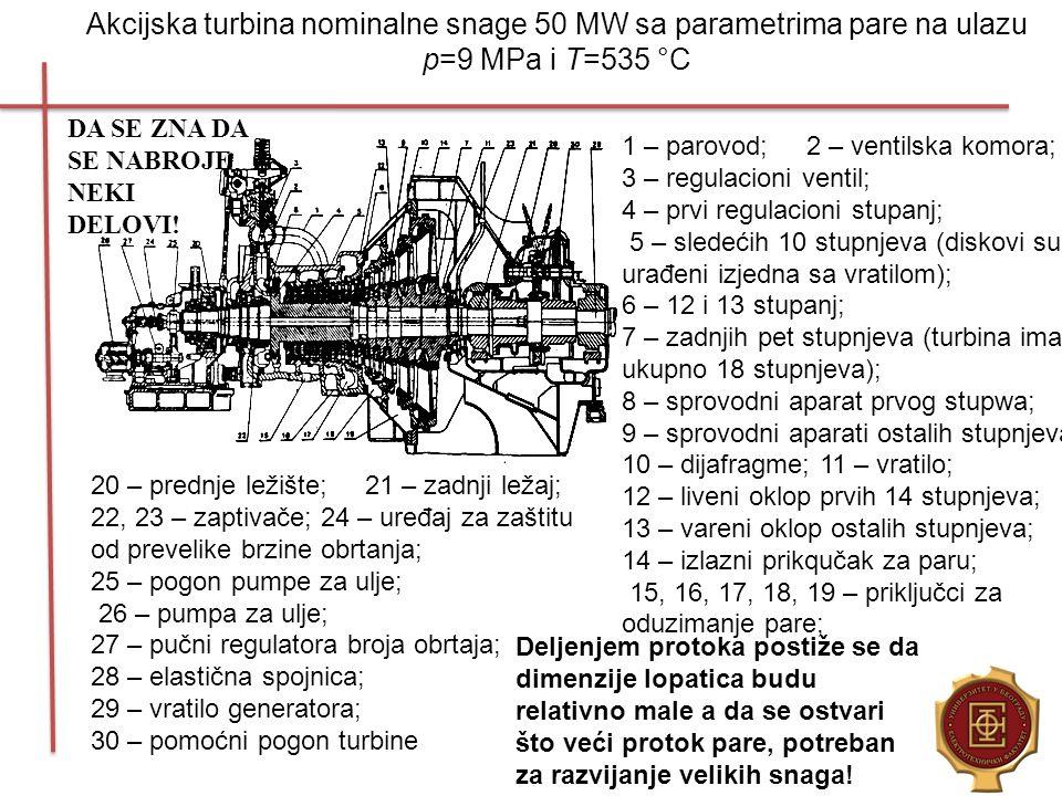 Akcijska turbina nominalne snage 50 MW sa parametrima pare na ulazu p=9 MPa i T=535 °C 1 – parovod; 2 – ventilska komora; 3 – regulacioni ventil; 4 –