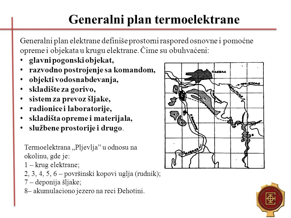 Generalni plan termoelektrane Generalni plan elektrane definiše prostorni raspored osnovne i pomoćne opreme i objekata u krugu elektrane. Čime su obuh