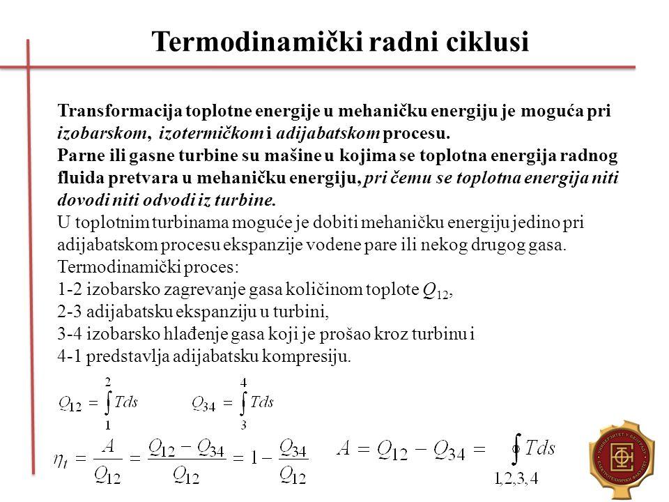 Termodinamički radni ciklusi Transformacija toplotne energije u mehaničku energiju je moguća pri izobarskom, izotermičkom i adijabatskom procesu. Parn