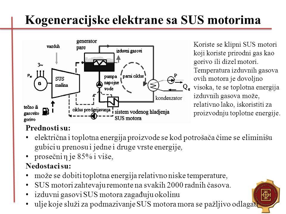 Kogeneracijske elektrane sa SUS motorima Koriste se klipni SUS motori koji koriste prirodni gas kao gorivo ili dizel motori. Temperatura izduvnih gaso