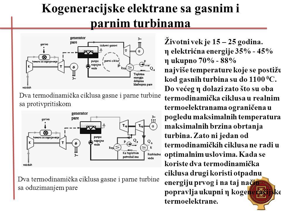 Kogeneracijske elektrane sa gasnim i parnim turbinama Dva termodinamička ciklusa gasne i parne turbine sa protivpritiskom Dva termodinamička ciklusa g