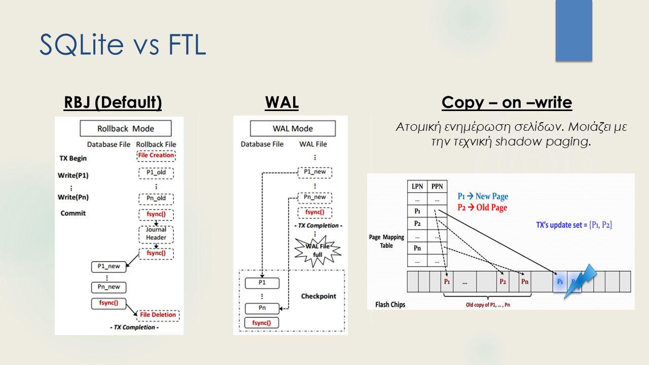 Περιεχόμενα  Εισαγωγή  SQLite  Transactional Atomicity  Buffer management  X-FTL για SQLite  Γιατί X-FTL  RBJ vs WAL vs Copy – on –write  X-FTL  L2P & X-L2P  SATA commands  Commit/Abort  Υλοποίηση  Αξιολόγηση  Workloads  Run-time performance  Recovery performance