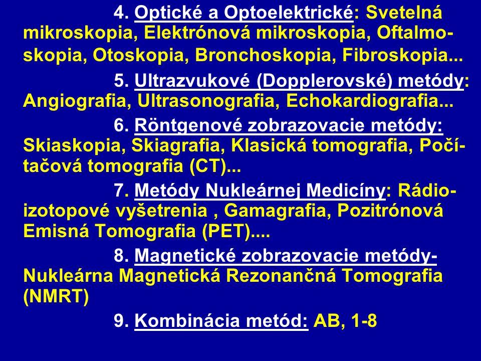 4. Optické a Optoelektrické: Svetelná mikroskopia, Elektrónová mikroskopia, Oftalmo- skopia, Otoskopia, Bronchoskopia, Fibroskopia... 5. Ultrazvukové