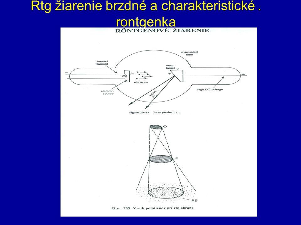 Rtg žiarenie brzdné a charakteristické. rontgenka