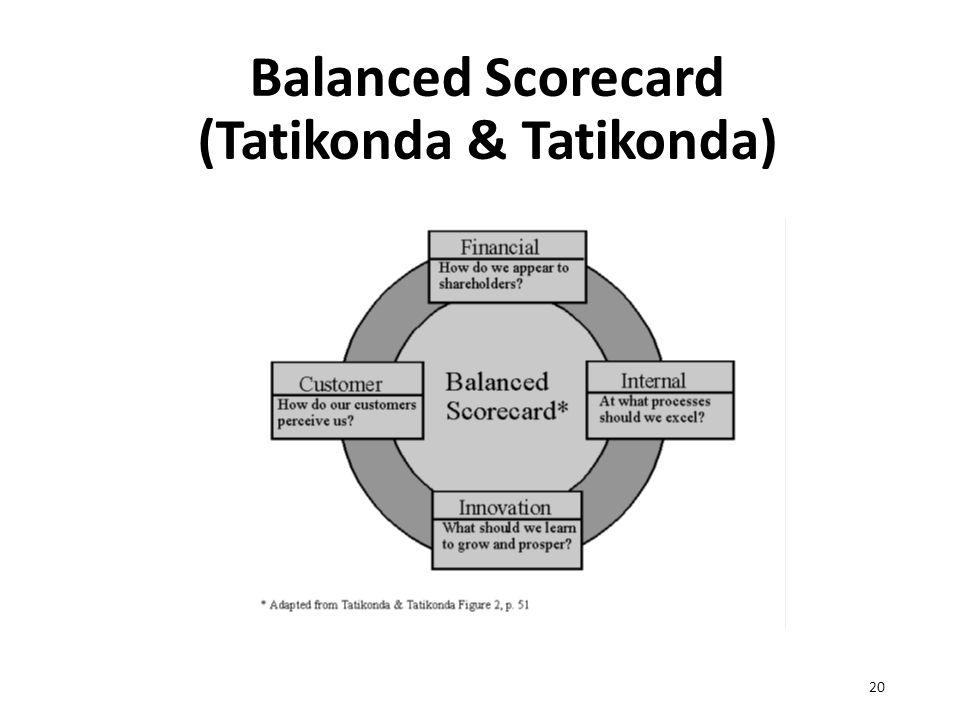 Balanced Scorecard (Tatikonda & Tatikonda) 20