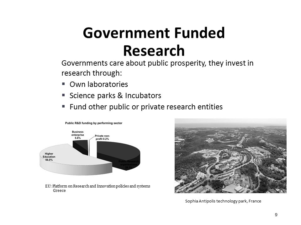 Government Funded Research 9 Governments care about public prosperity, they invest in research through:  Own laboratories  Science parks & Incubators  Fund other public or private research entities EU: Platform on Research and Innovation policies and systems Greece Sophia Antipolis technology park, France