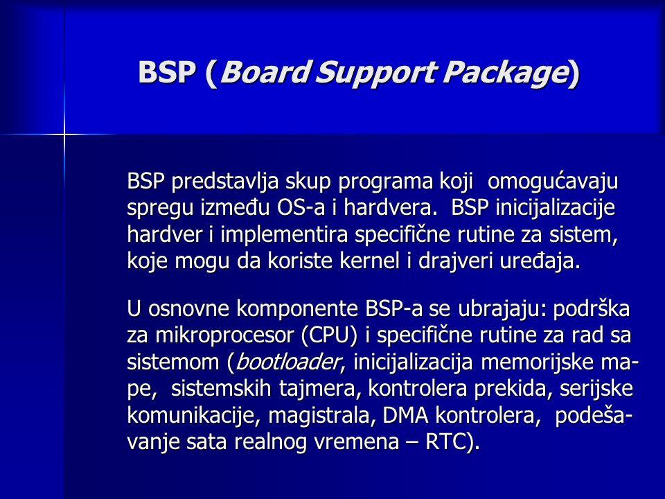 BSP (Board Support Package) BSP predstavlja skup programa koji omogućavaju spregu između OS-a i hardvera.