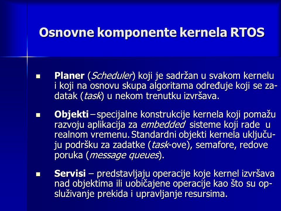 Osnovne komponente kernela RTOS Planer (Scheduler) koji je sadržan u svakom kernelu i koji na osnovu skupa algoritama određuje koji se za- datak (task) u nekom trenutku izvršava.