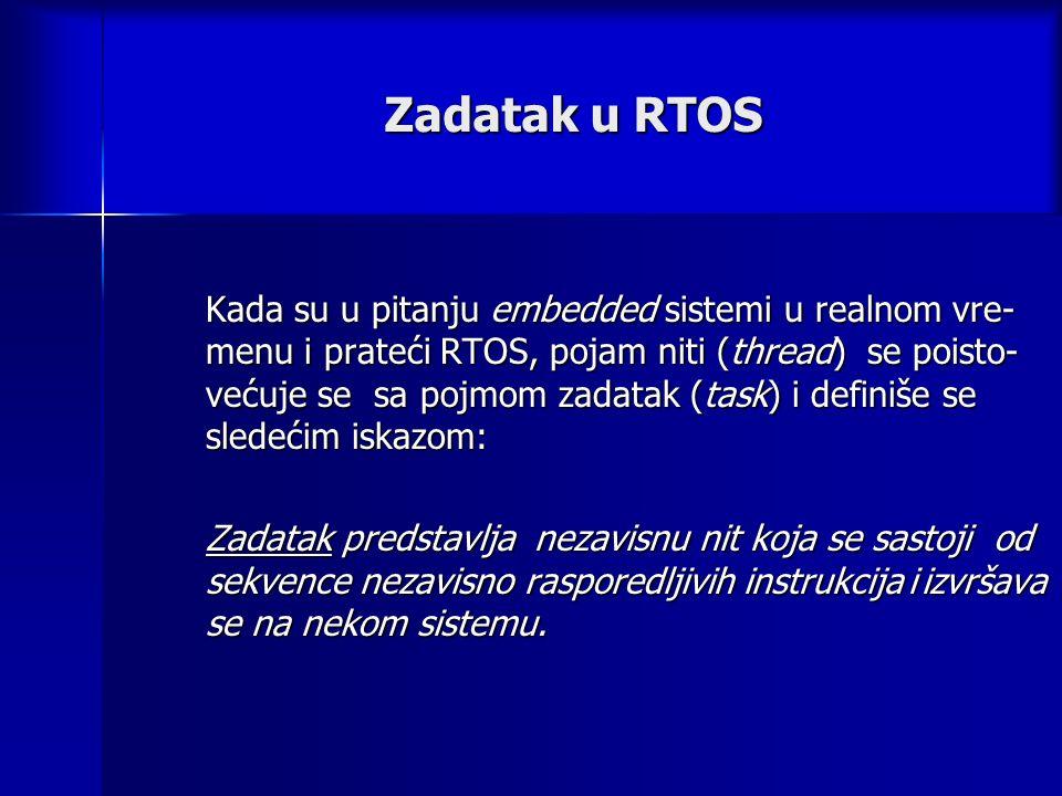 Zadatak u RTOS Kada su u pitanju embedded sistemi u realnom vre- menu i prateći RTOS, pojam niti (thread) se poisto- većuje se sa pojmom zadatak (task) i definiše se sledećim iskazom: Zadatak predstavlja nezavisnu nit koja se sastoji od sekvence nezavisno rasporedljivih instrukcija i izvršava se na nekom sistemu.