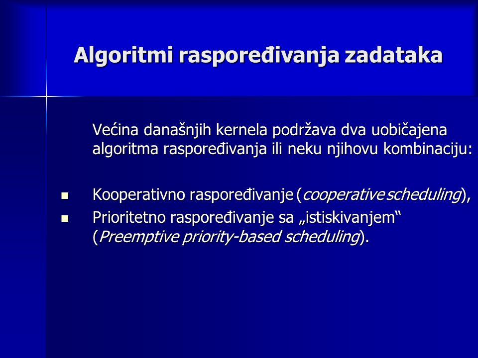 """Algoritmi raspoređivanja zadataka Većina današnjih kernela podržava dva uobičajena algoritma raspoređivanja ili neku njihovu kombinaciju: Kooperativno raspoređivanje (cooperative scheduling), Kooperativno raspoređivanje (cooperative scheduling), Prioritetno raspoređivanje sa """"istiskivanjem (Preemptive priority-based scheduling)."""