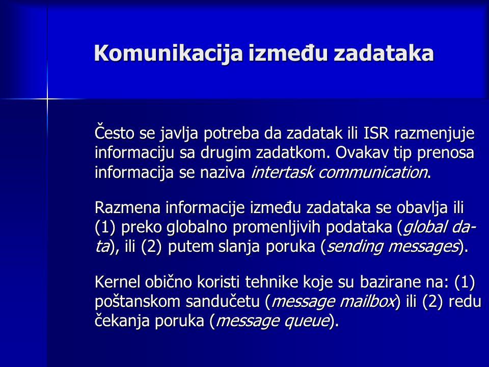 Komunikacija između zadataka Često se javlja potreba da zadatak ili ISR razmenjuje informaciju sa drugim zadatkom.