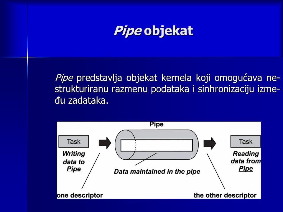 Pipe objekat Pipe predstavlja objekat kernela koji omogućava ne- strukturiranu razmenu podataka i sinhronizaciju izme- đu zadataka.