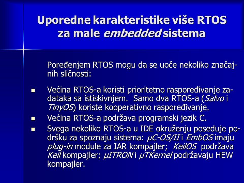 Uporedne karakteristike više RTOS za male embedded sistema Poređenjem RTOS mogu da se uoče nekoliko značaj- nih sličnosti: Većina RTOS-a koristi prioritetno raspoređivanje za- dataka sa istiskivnjem.