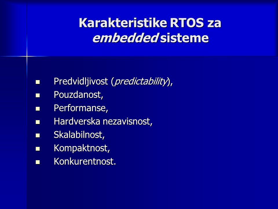 Karakteristike RTOS za embedded sisteme Predvidljivost (predictability), Predvidljivost (predictability), Pouzdanost, Pouzdanost, Performanse, Performanse, Hardverska nezavisnost, Hardverska nezavisnost, Skalabilnost, Skalabilnost, Kompaktnost, Kompaktnost, Konkurentnost.