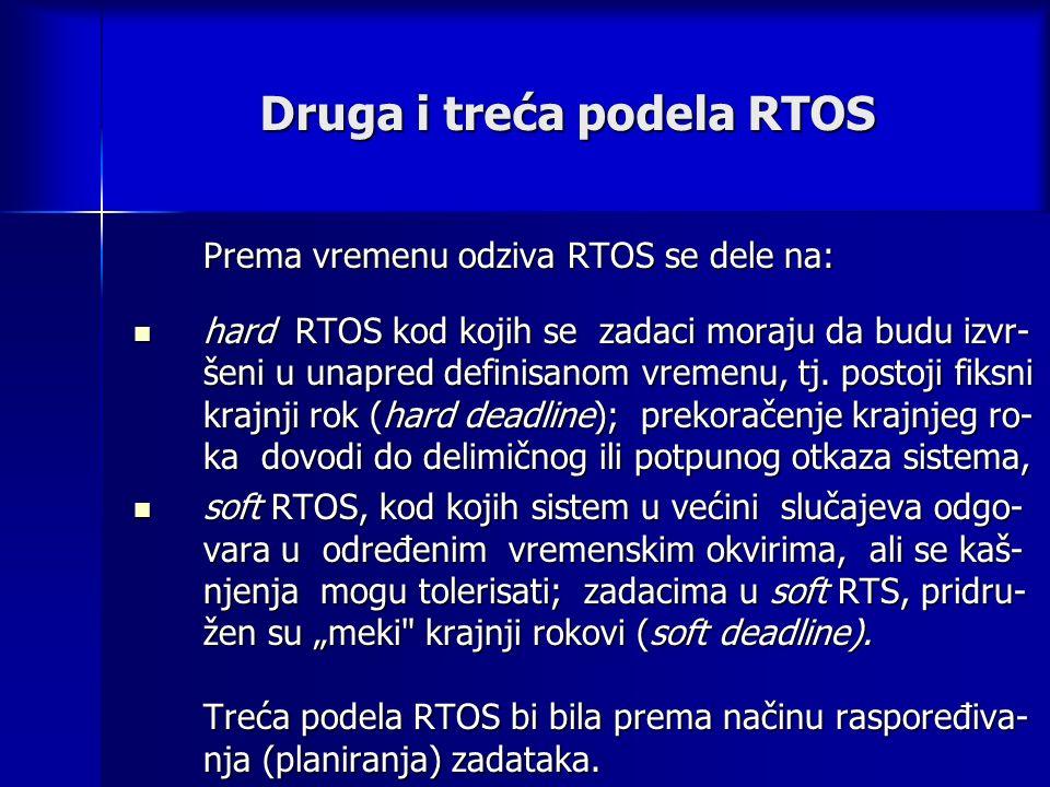 Druga i treća podela RTOS Prema vremenu odziva RTOS se dele na: hard RTOS kod kojih se zadaci moraju da budu izvr- šeni u unapred definisanom vremenu, tj.