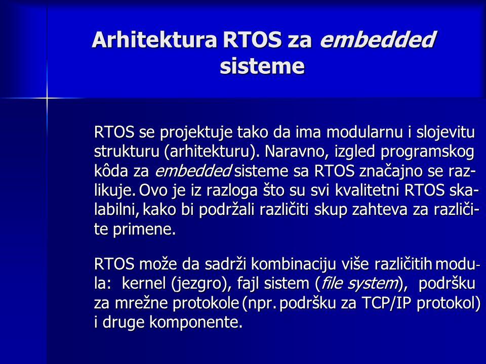 Arhitektura RTOS za embedded sisteme RTOS se projektuje tako da ima modularnu i slojevitu strukturu (arhitekturu).