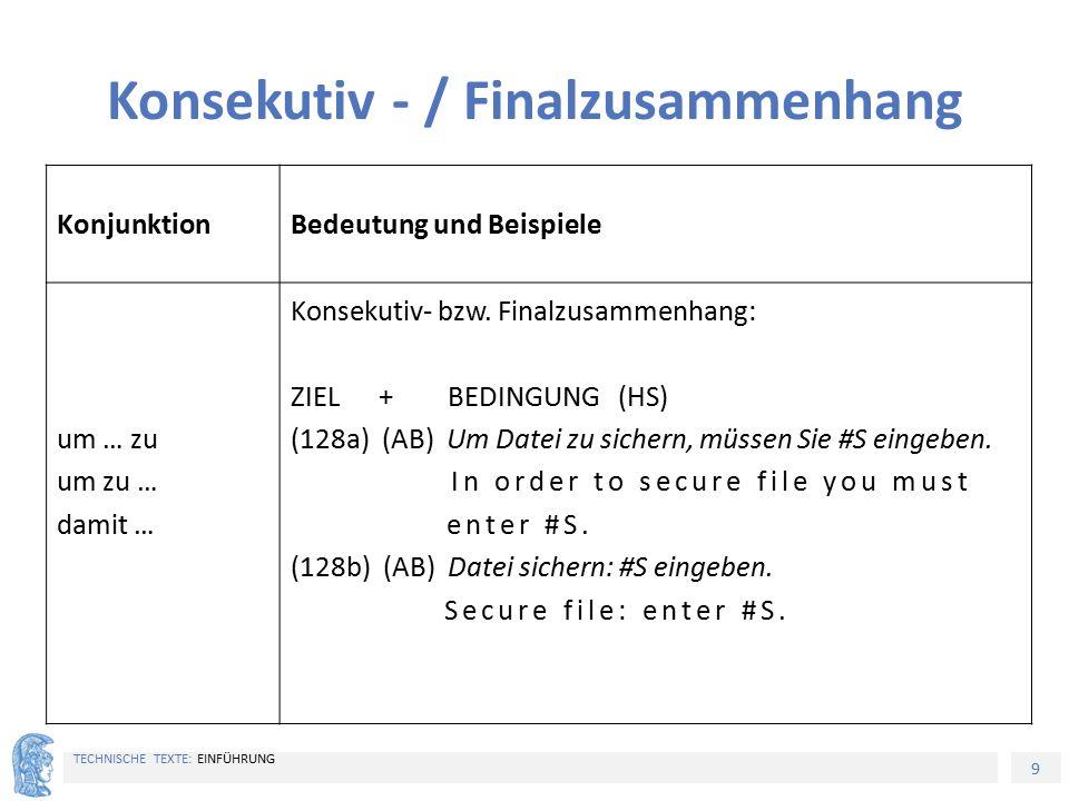 9 TECHNISCHE TEXTE: EINFÜHRUNG Konsekutiv - / Finalzusammenhang KonjunktionBedeutung und Beispiele um … zu um zu … damit … Konsekutiv- bzw. Finalzusam