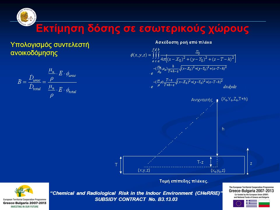 Εκτίμηση δόσης σε εσωτερικούς χώρους Chemical and Radiological Risk in the Indoor Environment (CHeRRIE) SUBSIDY CONTRACT No.