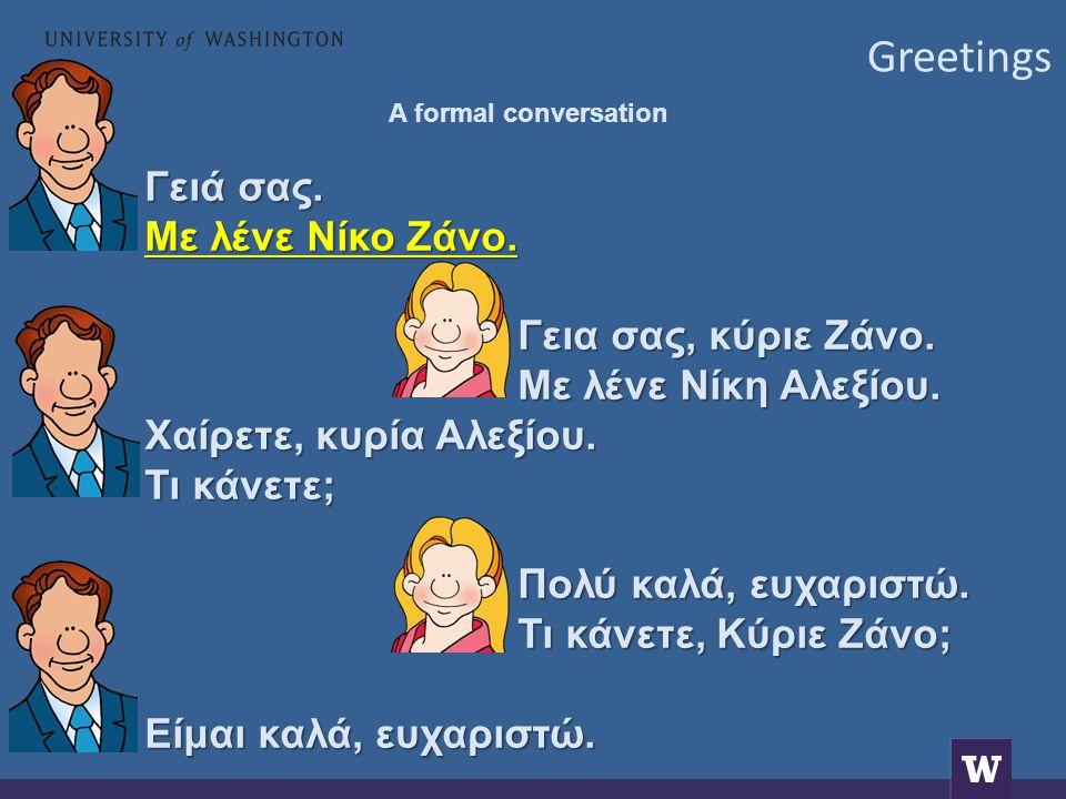 Greetings A formal conversation Γειά σας. Με λένε Νίκο Ζάνο.