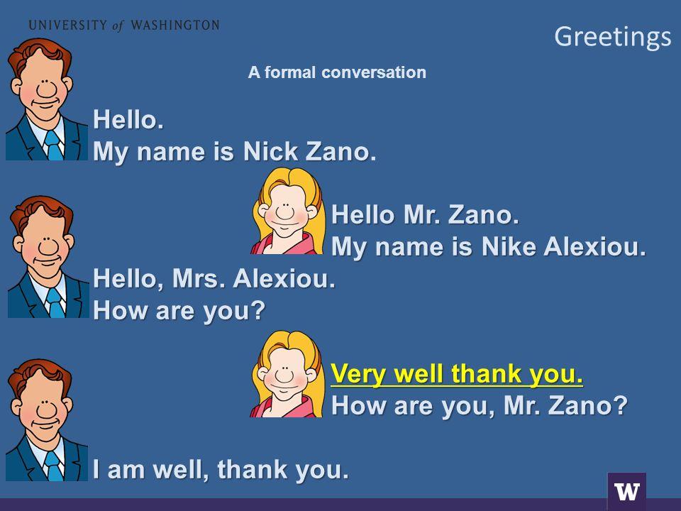 Greetings A formal conversation Γειά σας.Με λένε Νίκο Ζάνο.